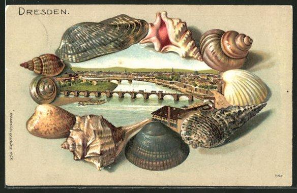 Passepartout-Lithographie Dresden-Neustadt, Ortsansicht mit Flusspartie und Brücke in Muscheln