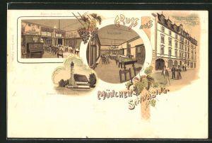 Lithographie München-SchwabingRestaurant zum Pfälzer Weinbauer, Feilitzschstrasse 5