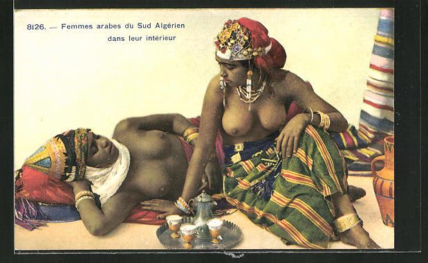 AK arabische nackte Frauen beim Tee