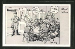 Künstler-AK Ferdinand Barlog: Soldaten beim Kartenspiel