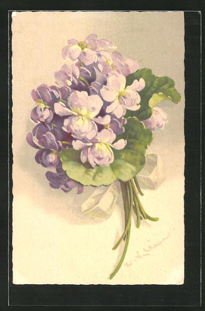 Künstler-AK Catharina Klein: Prachtvoller Strauss mit lila Blüten