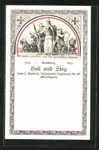 AK Göttingen, 2. Kurhess. Infanterie-Regiment Nr. 82, Siegesgöttin führt Soldaten in die Schlacht,