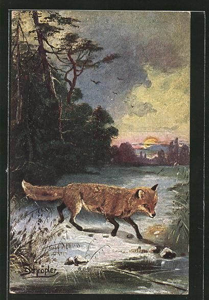 Kunstler Ak Schropler Fuchs Im Winter Nr 8272787 Oldthing