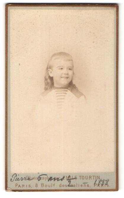 Fotografie Emile Tourtin, Paris, Portrait Bub mit zeitgenöss. Frisur