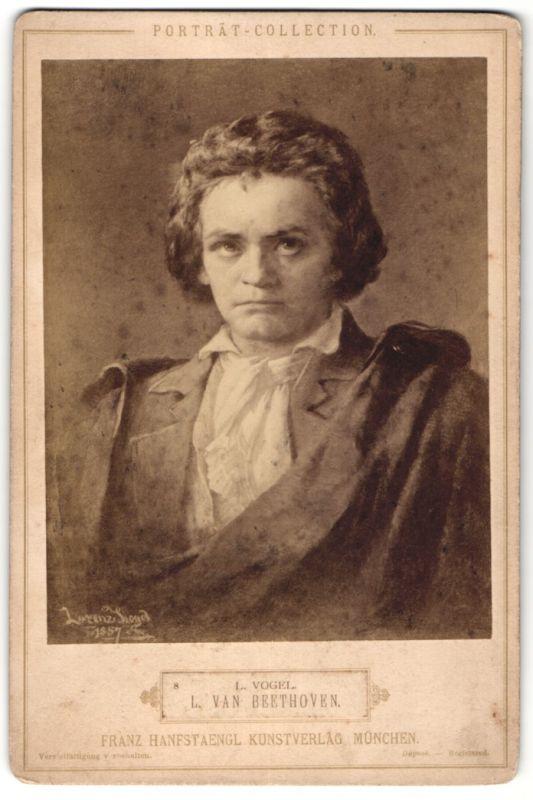 Fotografie Portrait Ludwig van Beethoven, nach einem Gemälde von Lorenz Vogel