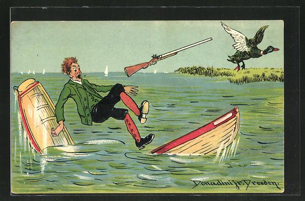 Künstler-AK Ermenegildo Carlo Donadini: Jäger fällt bei der Entenjagd aus dem Boot