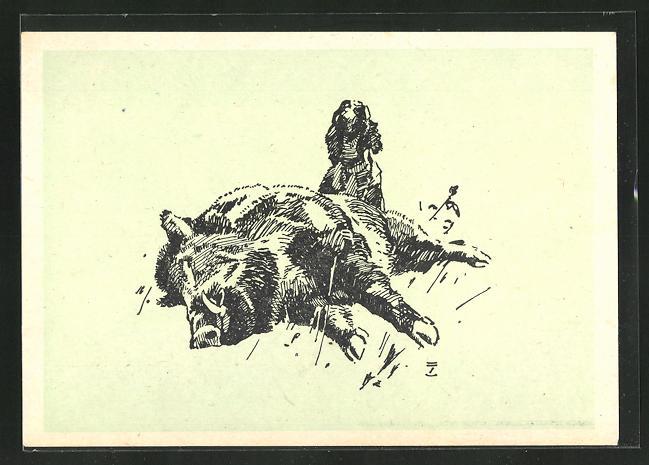 Künstler-AK Ludwig Hohlwein: Jagdhund neben erlegtem Eber