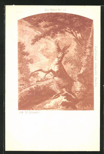 Lithographie Sich aufbäumender Hirsch am Waldesrand