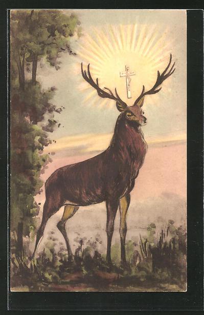 AK Hirsch auf einer Lichtung, Kreuz mit Sonne
