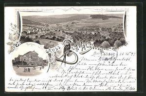 Lithographie Bad Schwalbach, Ansicht vom Kurhaus, Ortsansicht mit Blick ins Land