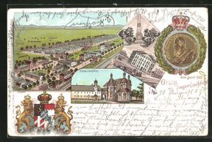 Lithographie Lager Lechfeld, Totalansicht, Kloster Lechfeld, Kriegerdenkmal