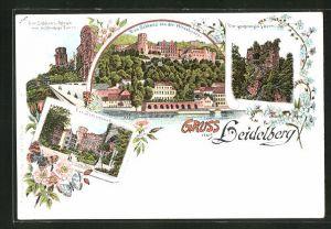 Lithographie Heidelberg, Schloss-Altan & achteckiger Turm, Schloss von der Hirschgasse, Schlosshof