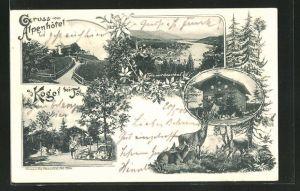 AK Tölz, Ortsansicht mit Isartal, Alpenhotel Kogel bei Tölz, Jagdhütte