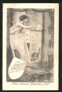 AK Wasserburg, Real-Absolvia 1927, Mädchen winkt Studenten zum Abschied