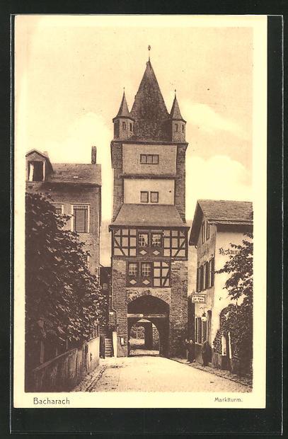 AK Bacharach, Hotel-Restaurant zur Rose und Marktturm