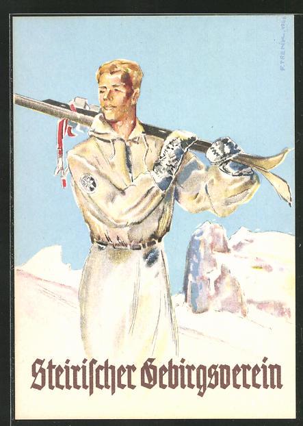 Künstler-AK Steirischer Gebirgsverein, Mitglied mit geschulterten Skiern