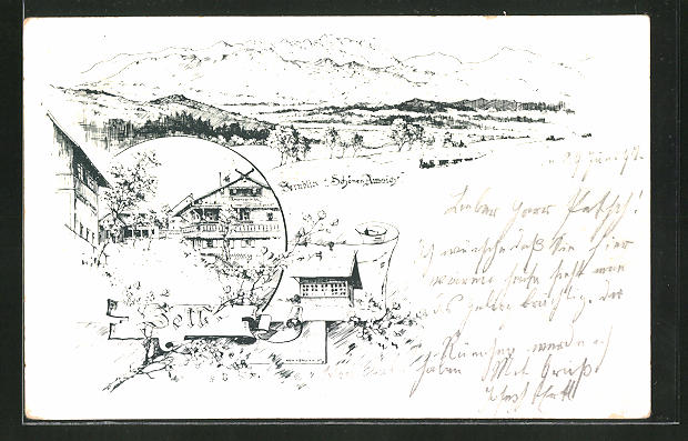 Lithographie Zell, Restaurant zur schönen Aussicht, Fernblick von der Terrasse