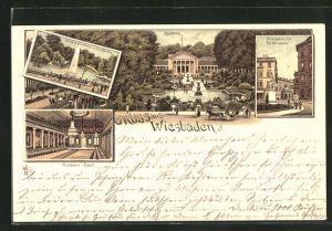 Lithographie Wiesbaden, Kurhaus, Kranzplatz mit Kochbrunnen, Kurhaus-Saal