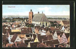 AK Ingolstadt, Ortspartie mit Kirche aus der Vogelschau