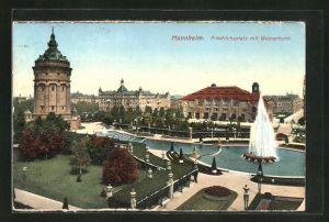 AK Mannheim, Friedrichsplatz mit Wasserturm und grosser Fontäne