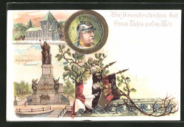 Lithographie Portrait Fürst Otto von Bismarck, Niederwald-Denkmal, Mausoleum zu Friedrichsruh, Reichskriegsflagge