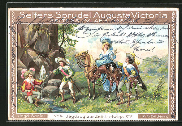 AK Reklame für Selters-Sprudel Augusta Victoria, Jagdzug zur Zeit Ludwigs XIV.