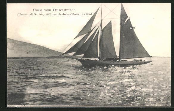 AK Yacht Iduna mit dem Deutschen Kaiser an Bord