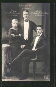Foto-AK Walter Hahn, Nachfolger: Kronprinz Georg von Sachsen und die Prinzen Ernst Heinrich und Friedrich Christian