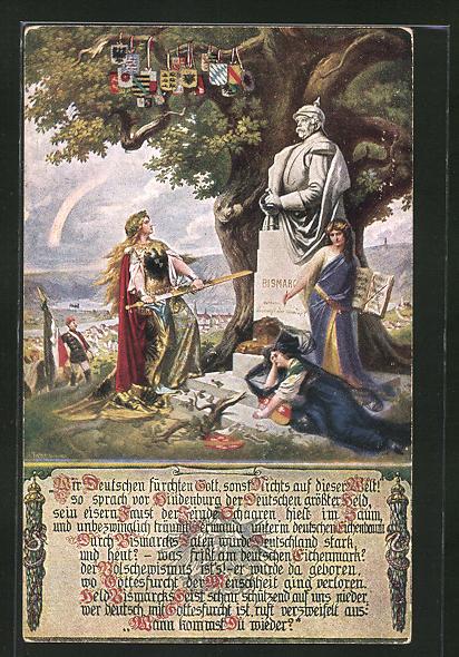 Künstler-AK Germania vor einem Bismarck-Denkmal