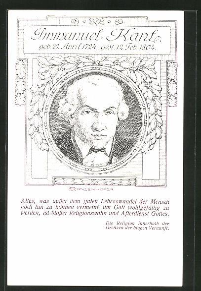 Künstler-AK Portrait des Philosophen Immanuel Kant