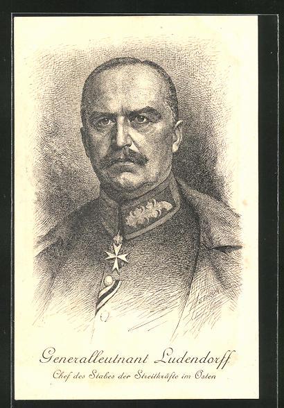 Künstler-AK Generalleutnant Erich Ludendorff, Chef des Stabes der Streitkräfte im Osten