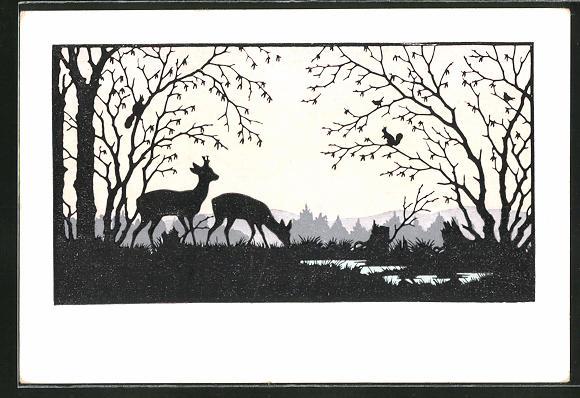 Künstler-AK Josefine Allmayer: Rehe äsen am Waldsaum, Scherenschnitt