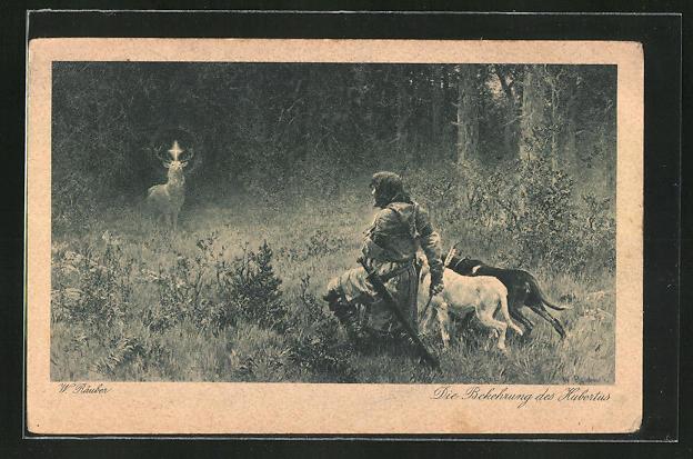 AK die Bekehrung des Hubertus, Jäger geht vor einem heiligen Hirsch auf die Knie, Schutzpatron, Jagd