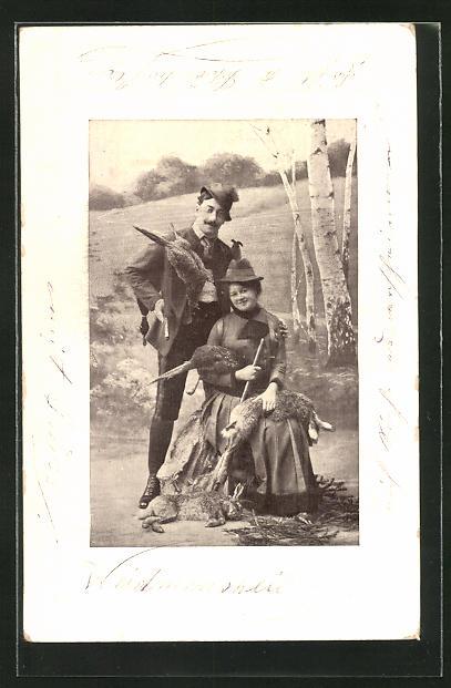 AK Jägerin und Jäger mit Beute