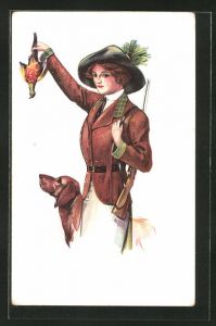 AK junge Jägerin mit Beute und Jagdhund