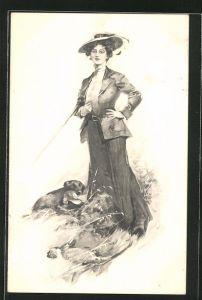 AK erfolgreiche Jägerin mit Hund und Beute