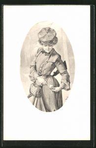 AK Jägerin mit Tasche und Gewehr im Passepartout-Rahmen