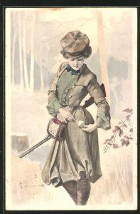 AK Jägerin mit Gewehr überprüft ihre Munition