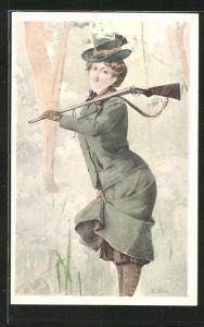 AK Jägerin schultert ihr Gewehr im Wald