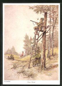 Künstler-AK Heinz Geilfus: das Biest, Biene an einem Jäger der auf dem Hochsitz sitzt