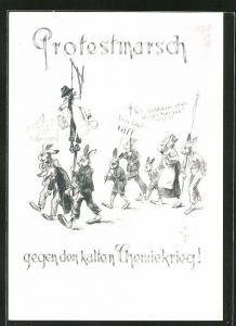 Künstler-AK Heinz Geilfus: Protestmarsch gegen den kalten Chemiekrieg!, vermenschlichte Hasen mit Schildern