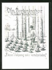 Künstler-AK Heinz Geilfus: Ofm. Borkenkratzer in seiner Holzfabrik