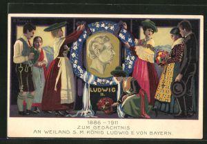Lithographie 1886-1911 zum Gedächtnis an Weiland S.M. König Ludwig II. von Bayern