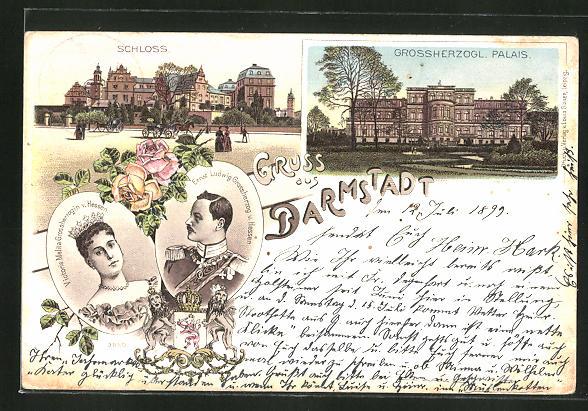 Lithographie Grossherzog Ernst Ludwig und Grossherzogin Victoria Melita v. Hessen, Schloss und Palais