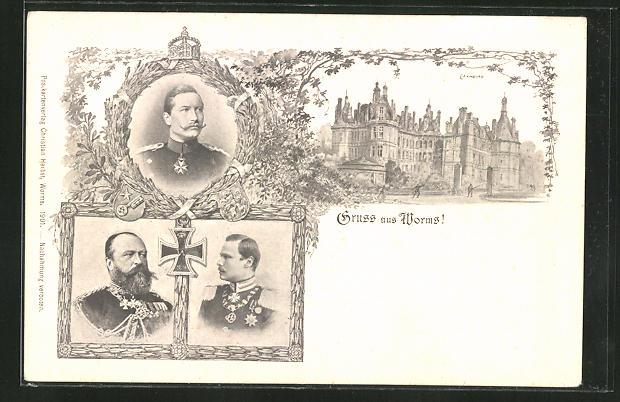 AK Worms, Erzherzog Ernst Ludwig von Hessen-Darmstadt, Schloss Chambord