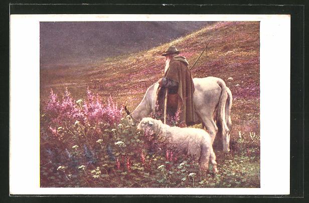 AK Jobst: Wenn die Abendglocken läuten, Hirte mit Pferd und Schaf