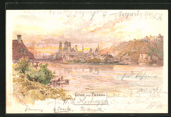 Künstler-AK Edward Theodore Compton: Passau, Stadtpanorama im Abendrot