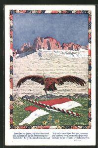 AK die Zerreissung Tirols, Adler mit Schwert und zerschnittender Fahne