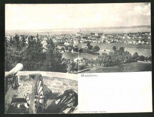 Klapp-AK Mindelheim, Panoramablick vom Berg aus