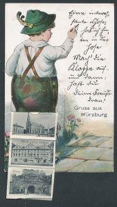 Leporello-AK Würzburg, Bube in Lederhose zeichnet an einer Wand, Bahnhof, Marienkapelle, Haus zum Falken